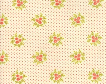 Fig Tree Fabric - Ella and Ollie Fabric Yardage - Moda Quilt Fabric - Red and Cream Dot Floral Fabric By The 1/2 Yard