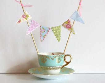 Vintage Tea Party Cake Bunting Topper - Pretty Florals, Pink Blue Green