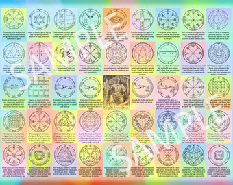 "The 44 Seals of Solomon - 12""x16"" Kabbalah poster for instant download - contains the 44 King Solomon seals and their interpretations"