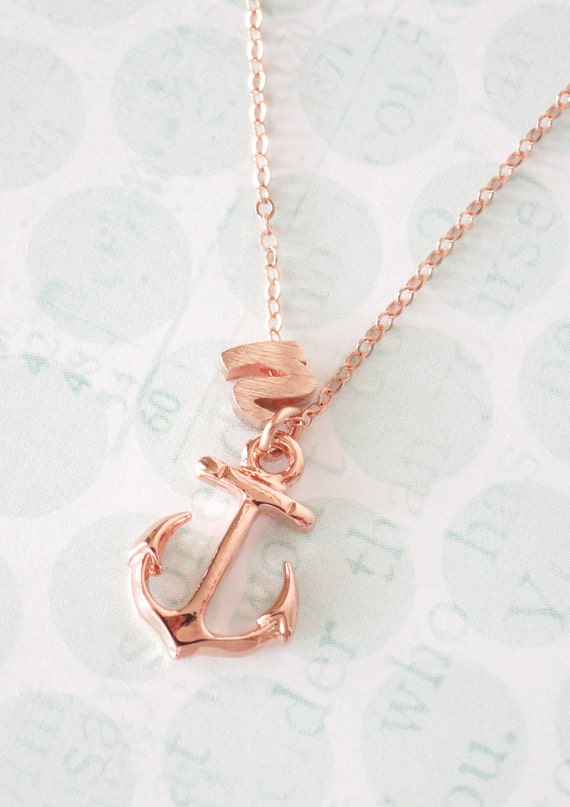 Personalized Anchor necklace - simple rose gold filled necklace, letter, initial, best friends, sisters, mum, navy