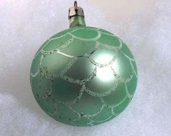 Vintage Poland Christmas ornament, hand painted ornament, glass pine cone ornament, Polish ornament, seafoam green or aqua with glitter