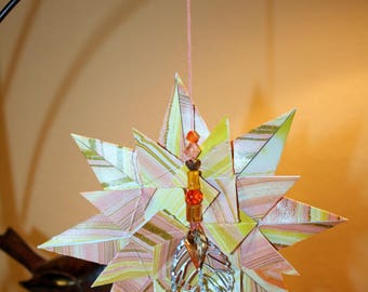 Origami Extra Large Orange Gold Marbleized Triple Layer Star Hanging Ornament