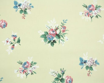 1940s Vintage Wallpaper by the Yard - Floral Wallpaper with Pink and Blue Roses on Yellow