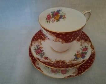 Vintage tea cup, saucer and cake plate (Paragon - by appointment to HM the Queen)