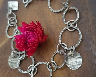 Gift for her, Raw silver bracelet, Oxidized silver bracelet, 925 Silver bracelet, Sterling silver  Bracelet, Chain Bracelet