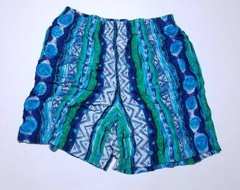 Hunt Club Petite Soft Blue Green & Torquoise  Vintage Pocket Shorts L