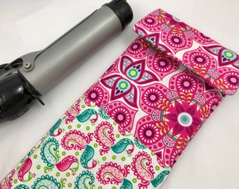 Curling Iron Holder - Curling Iron Case - Flat Iron Holder - Flat Iron Case - Pink Travel Case - Bloom Henna Blossom in Pink