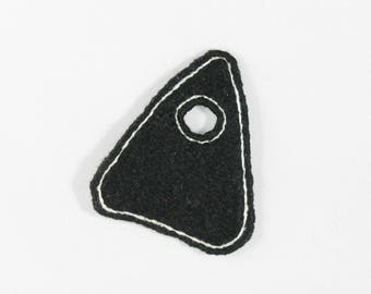 Hand Embroidered Black and White Planchette Patch