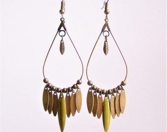 Dangle drop earrings and khaki green navette