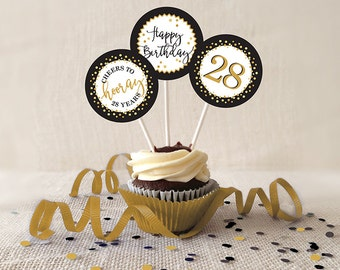 28th Birthday Cupcake Toppers, Gold and Black, Favor Tags, PRINTABLE, 2 Inch