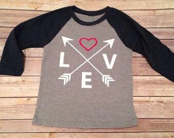 Love crossed arrows raglan shirt
