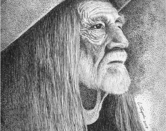 Willie Nelson- 11 x 14 Matted Print