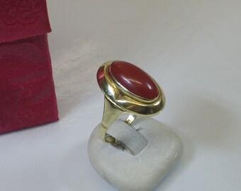 Old ring 585 gold coral vintage elegant GR212