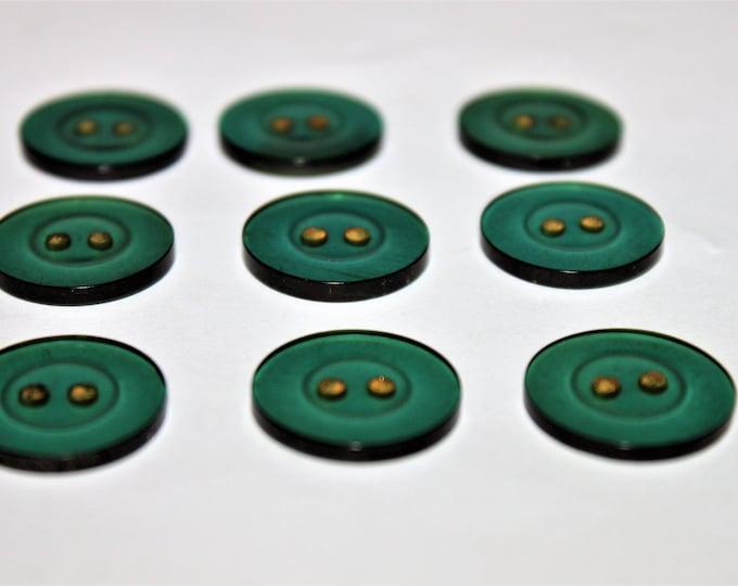 Set of Nine Vintage Buttons in a Translucent Wine Bottle Green Color