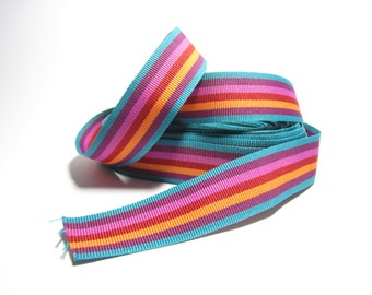 Striped grosgrain trim in bold stripes of teal, hot pink, purple, red and orange - THREE YARDS of grosgrain ribbon, 25mm / 1 inch wide trim