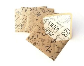 A2 Kraft Envelopes / Wrapping Paper Envelopes / Stationary Set / Handmade A2 Envelopes/ Happy Words Lined Envelopes / Set of 5