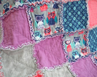 Night Owl Quilt, Baby Rag Quilt, Crib Blanket, Flannel Rag Quilt, Owl, Hoot, Blue, Gray, Purple, Baby Shower Gift, Girl Quilt, Ready to Ship