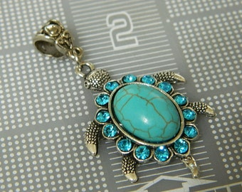 Vintage Silver Sea Turtle and Turquoise Pendant - Antiqued Sea Turtle Focal with Rhinestones