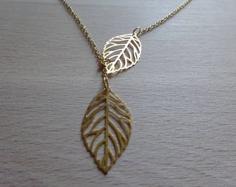Necklace leaf fine gold