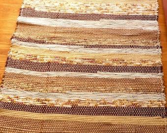 "Loom Woven Rag Rug 31 x 54"" Rectangular  Handmade Handwoven  Cotton  Rug Brown Tan Beige Black White Ready to Ship"