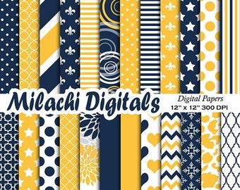 60% OFF SALE Navy blue and yellow digital paper, scrapbook papers, chevron background, wallpaper, commercial use - M551