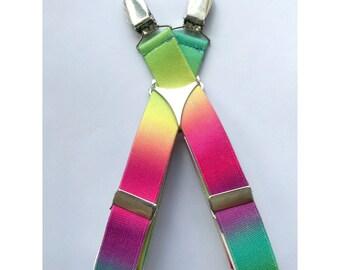 "Adjustable 1"" Suspenders- Rainbow Gradient"
