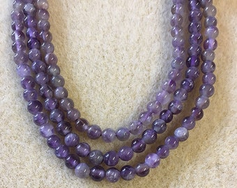 Amethyst with Stripes Smooth Gemstone Rounds 4mm 8 inch strand Approx 45 pcs per strand