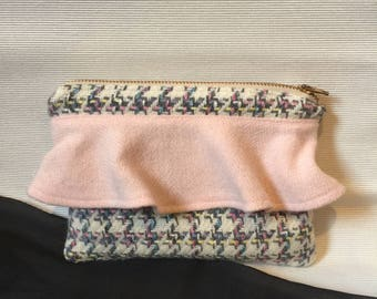 White & Pink Wool Pouch with Pink Ruffle