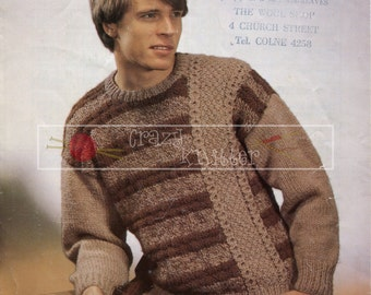 Man's Sweater Chunky 36-46in Sirdar 6623 Vintage Knitting Pattern PDF instant download