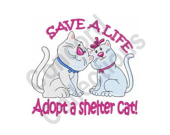 Adopt A Shelter Cat - Machine Embroidery Design, Adopt, Animal Shelter, Cat, Pet, Save a Life