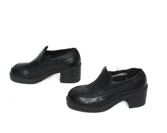 size 6.5 ESPRIT black leather 80s 90s CHUNKY PLATFORM loafers ankle boots