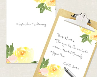 instant download editable personal stationery yellow