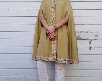 Vintage 70's Tan Canvas Cape | Decorative Trim, Button Front, Hood | Lined Poncho | Handmade Khaki Cloak | One Size Fits Most