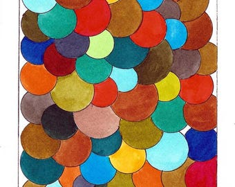 "Original Mid Century Atomic Style Ink and Watercolor Art - Multi Colored Circles and Spheres  6"" x 9"""