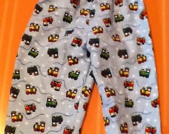Christmas Pajamas Last  Pair...TRAIN flannel pajama/Lounge pants children's size 0-3 months to 4T