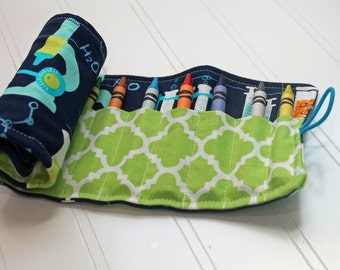 Chemistry Crayon Roll with Button and Elastic Closure-- Science Geek, Chemistry Beakers
