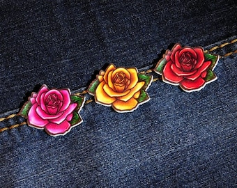 Handmade Red / Pink / Yellow Rose Plastic Shrink Film Lapel Pin Brooch Badge Button