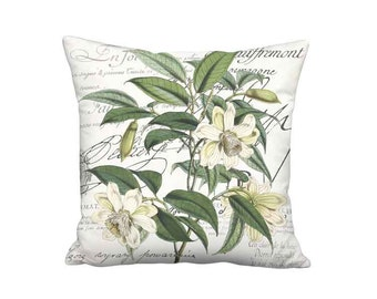 18x18 Inch READY TO SHIP - Linen Cotton Magnolia Pillow - Green and Cream Botanical Famous France French Script Cushion Cover
