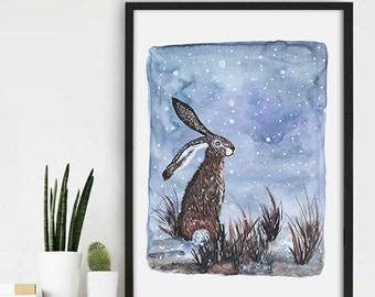 Rabbit Winter Art Print, Bunny , Animal Watercolor Print, Nursery decor print bunny winter, Winter Watercolour Rabbit Painting