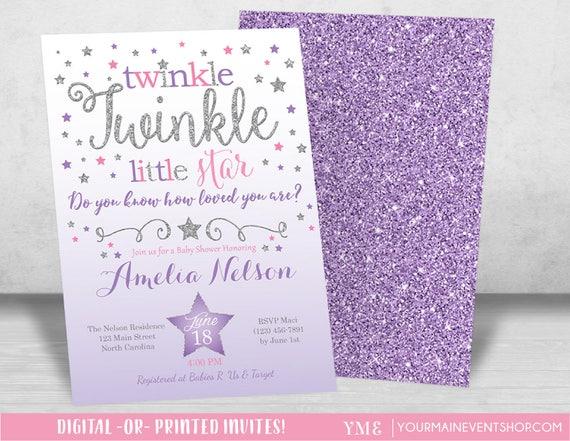 Pink Purple Silver Twinkle Twinkle Little Star Baby Shower Invitation, Girl Twinkle Twinkle Shower Invitation, Baby Shower Invite • BS-T-01
