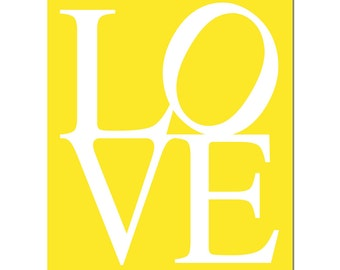 LOVE - 8x10 Typography Print - Kids Wall Art for Nursery - Choose Your Colors - Shown in Lemon Yellow, Turquoise, Light Pink and More