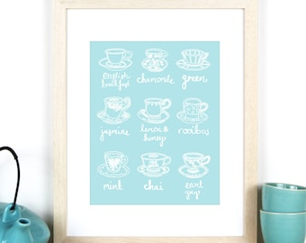 "Tea Print - 8""x10"" / A4 Art Print of tea cups, Teen Girl Room Decor, Gift for Housewarming, Kitchen Tea, Bride to be"