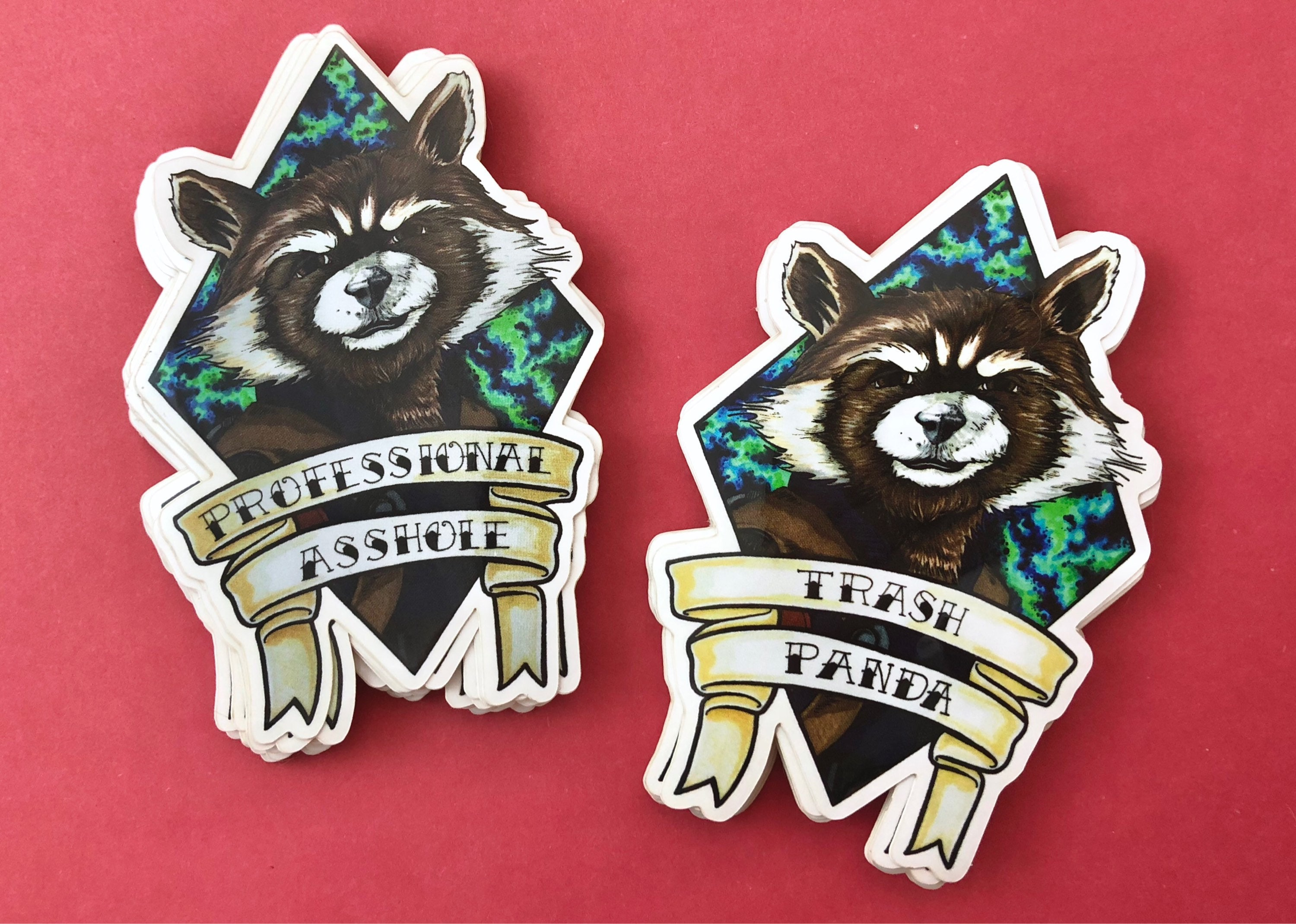 professional asshole sticker trash panda rocket guardians of