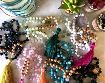 Gemstone Mala / Japa Mala / Sandalwood Mala / Mala Necklace / 108 Mala / Buddha Necklace / Mala Beads / Mala Beads 108 / Calcite / Apatite