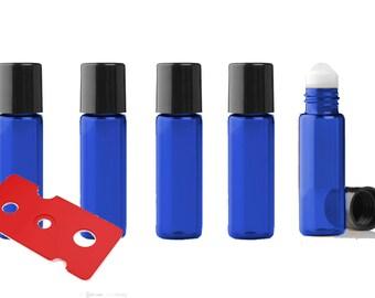 36 Cobalt Blue Micro Mini 5ml Rollon Bottles STAINLESS STEEL/GLASS Roller Balls Perfume Oil 1/6 Oz Lip Balm 5 ml W/ Bonus Essential Oil Key