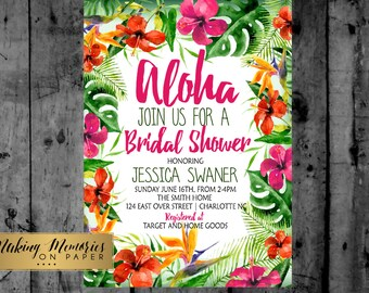Hawaiian luau watercolor baby shower, bridal shower, couples shower, tropical party Printable Invitation, tropical invite, birthday party