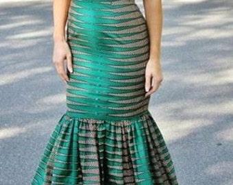 Green African Print Maxi Dress