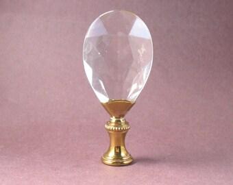 Lamp Shade Finial:  Glass Prism on Brass Swivel Hardware, Lamp Finial  (2YZ)