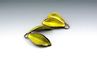 Enameled Petals / Yellow Enamel / Made to order