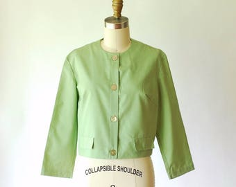 vintage 1960s blouse / 60s green cotton top / size small